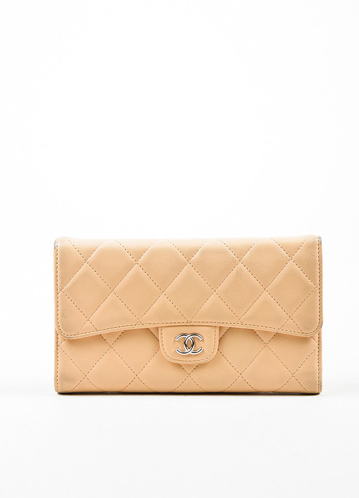 Chanel Beige Lambskin Leather Quilted Flap Wallet Frontview