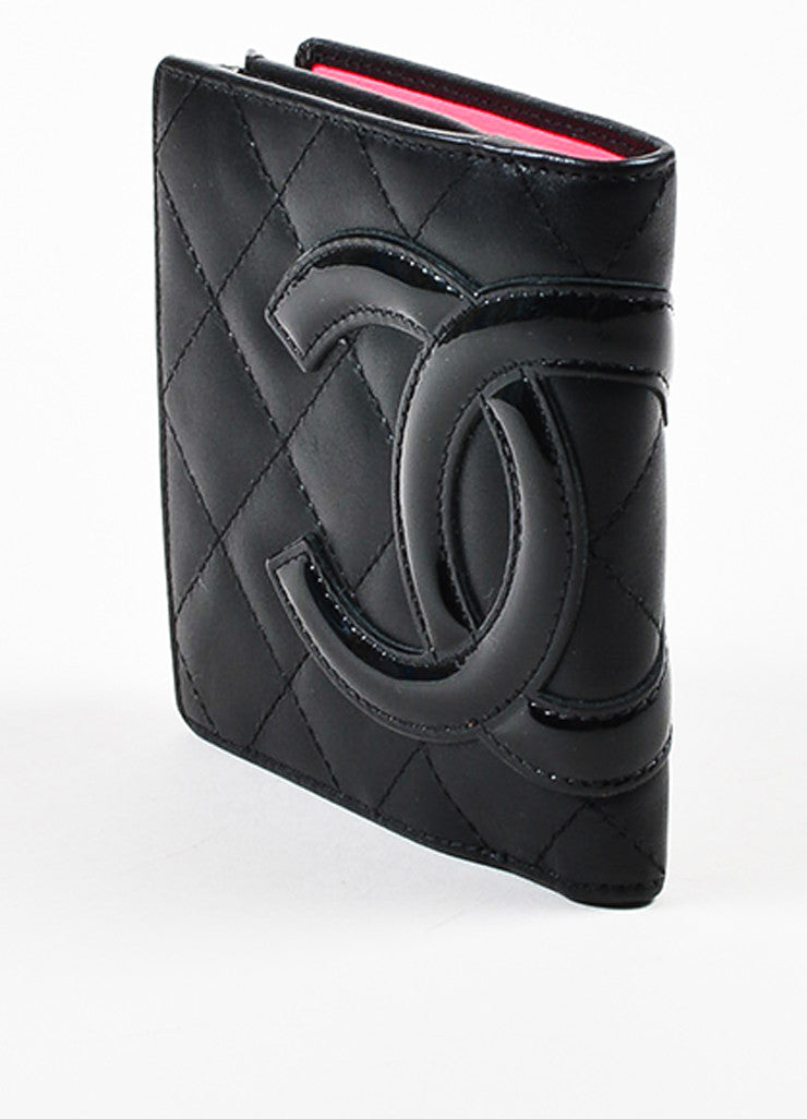 "Chanel Black and Hot Pink Leather 'CC' Quilted ""Ligne Cambon"" Square Wallet Sideview"