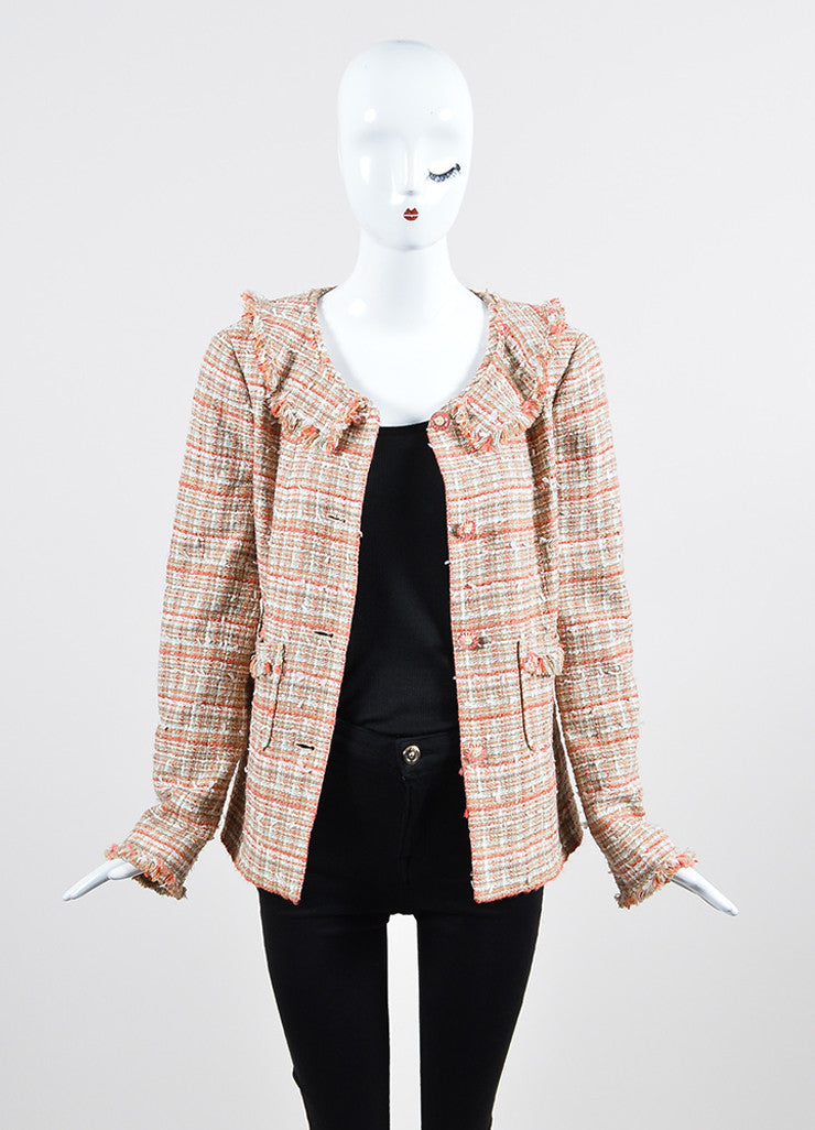 Coral and White Chanel Tweed Knit Fringe Button Blazer Jacket Frontview