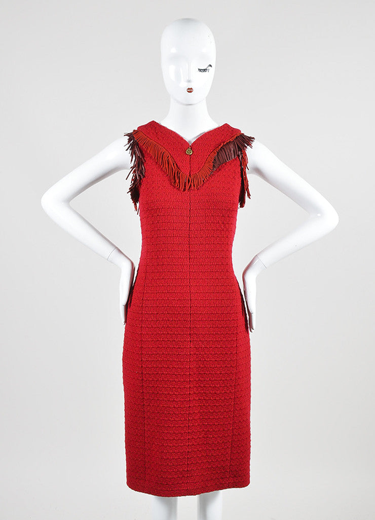 Red Chanel Tweed Leather Fringe Sleeveless Shift Dress Frontview