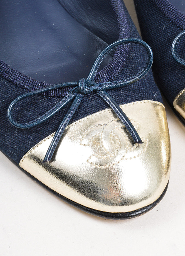 Navy Blue and Silver Chanel Canvas Metallic Leather Cap Toe Ballerina Flats Detail