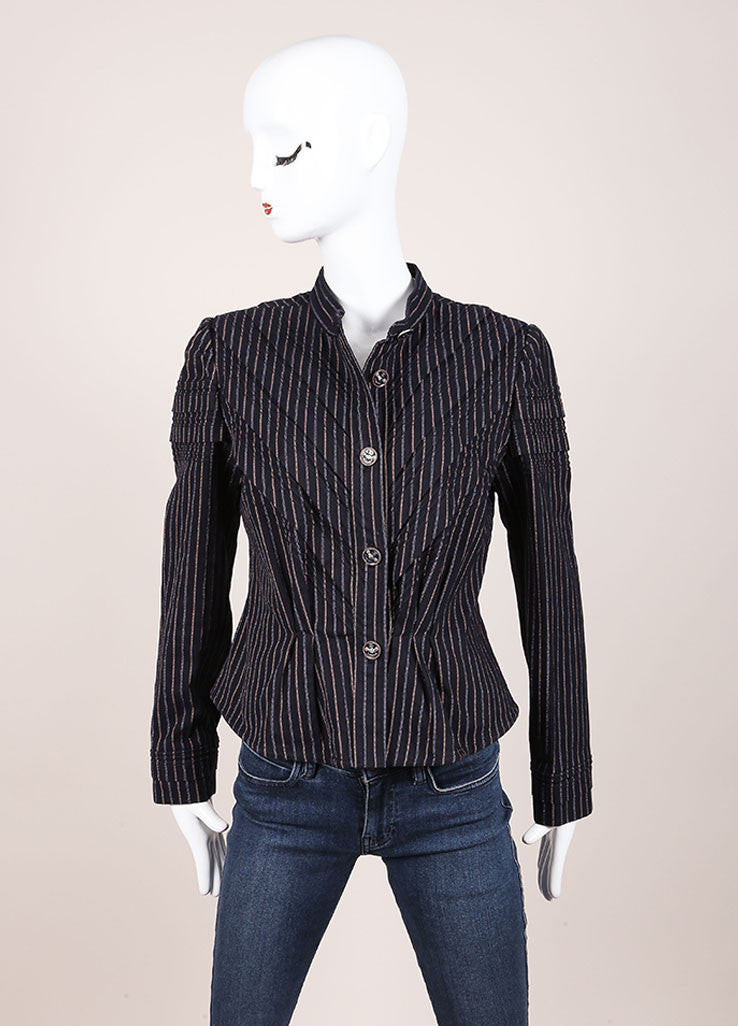 Chanel Navy and Red Striped Peplum Button Down Jacket Frontview