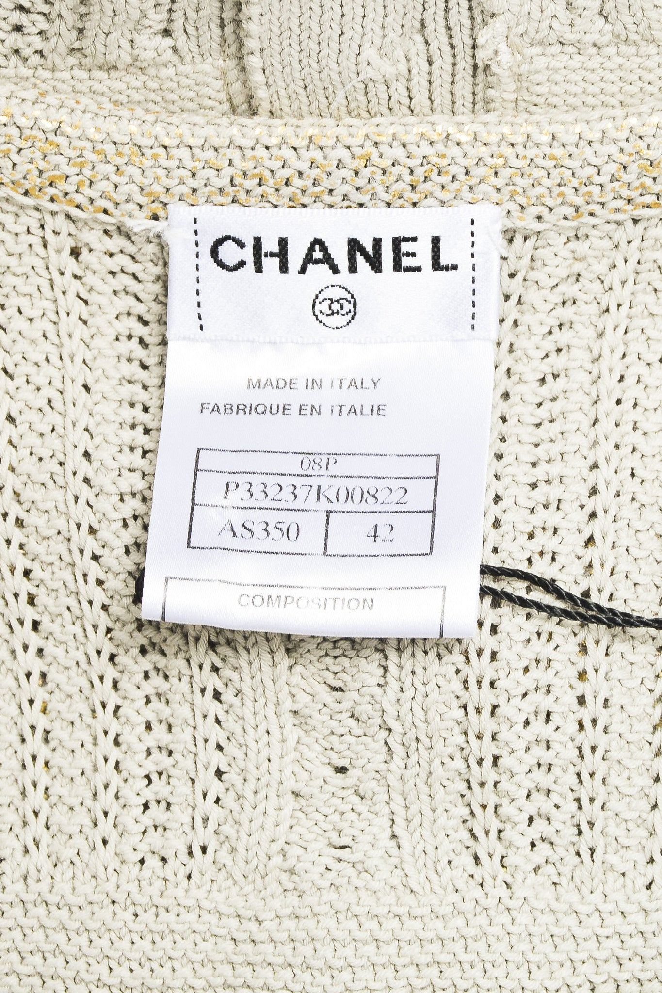 Chanel Taupe Metallic Gold Chain Trim 'CC' Shield Button Sleeveless Cardigan Vest Brand
