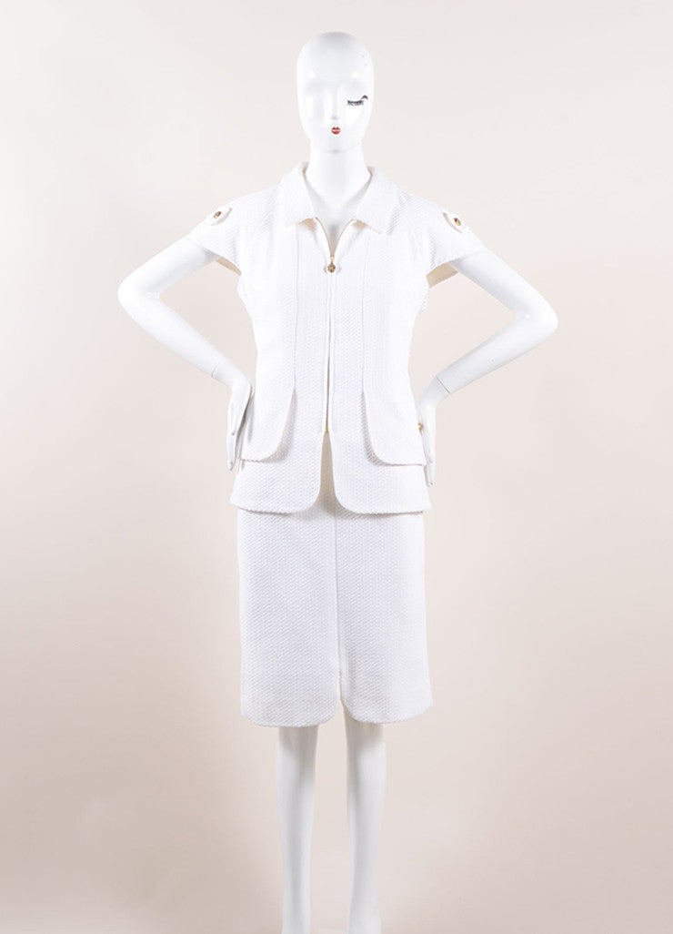 "Chanel White Knit Gold Toned ""CC"" Button Short Sleeve Pencil Skirt Suit Frontview"