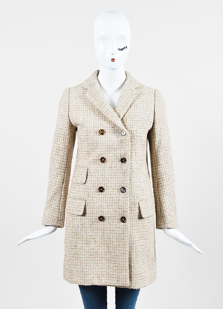 Chloe Beige and Grey Wool Tweed Plaid Double Breasted Pea Coat Frontview 2