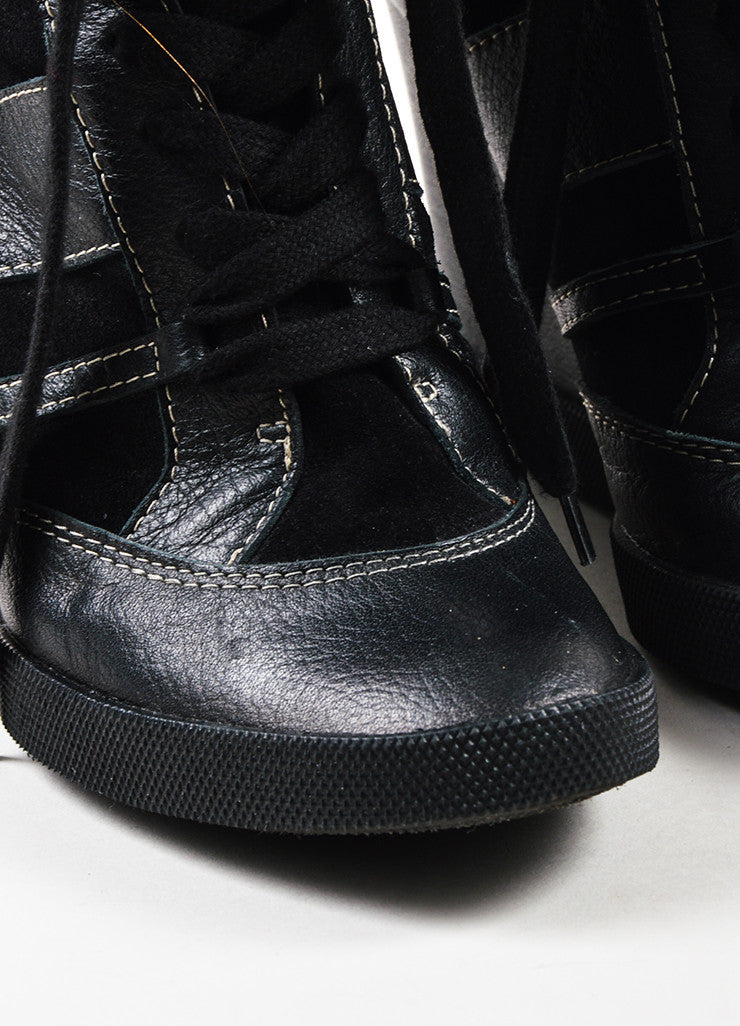Chloe Black Leather Suede Quilted Lace Up Wedge Sneakers Detail