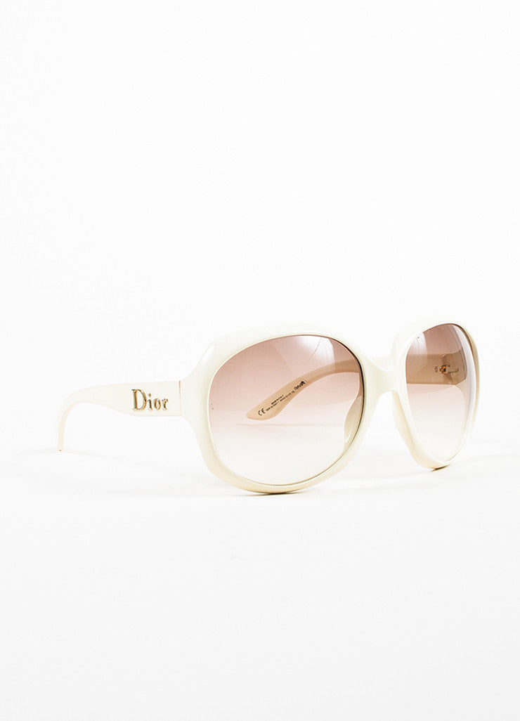"Christian Dior Cream and Grey Gradient Lens Oversize Oval ""Dior Glossy 1"" Sunglasses Sideview"