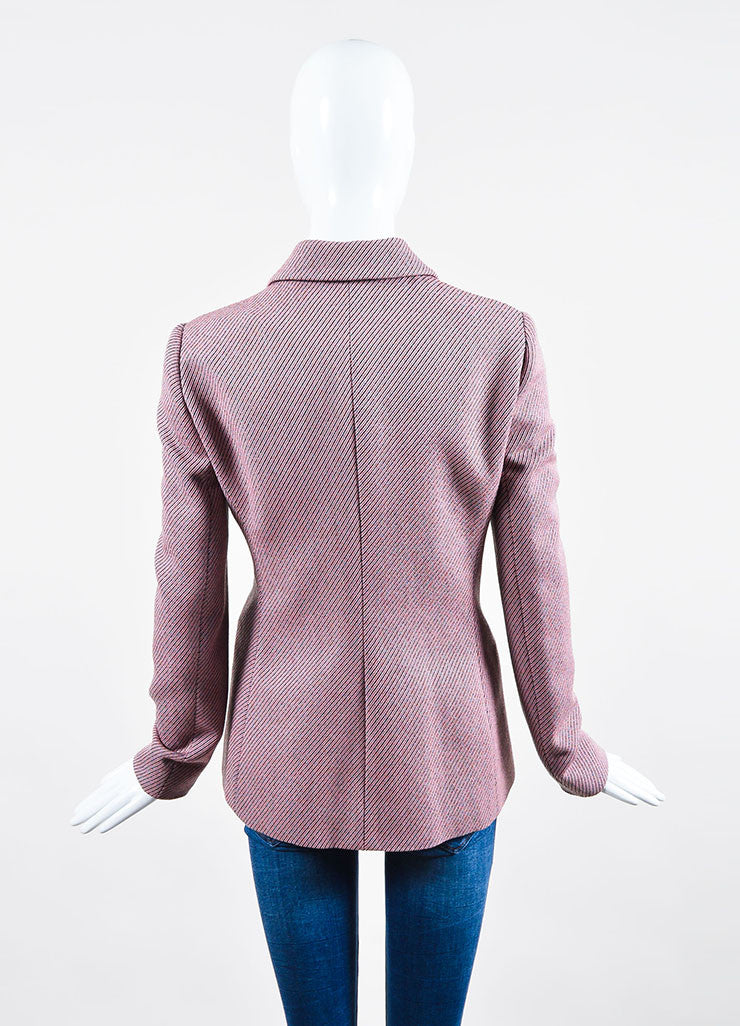 Pink and Multicolor Christian Dior Striped Double Breasted Pea Coat Backview