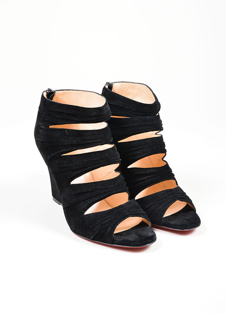 "Black Suede Christian Louboutin ""Developpa"" Cage Sandal Front"