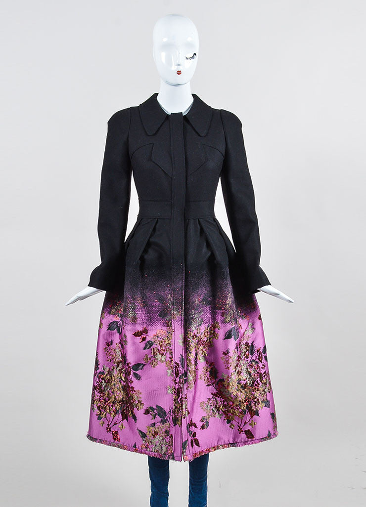 Black, Pink, and Red Erdem Wool Brocade Ombre Floral Maxi Coat Frontview 2