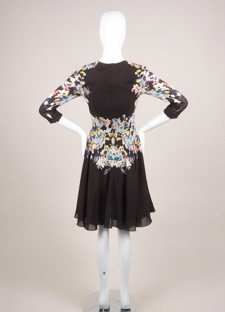 Erdem New With Tags Black and Multicolor Silk Floral Printed A-Line Dress Backview