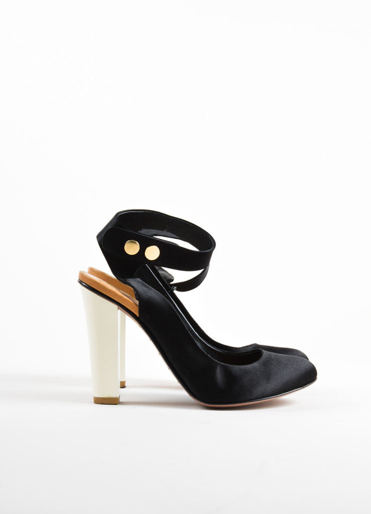 Giuseppe Zanotti for Vionnet Black and Cream Satin Ankle Strap Pumps Sideview