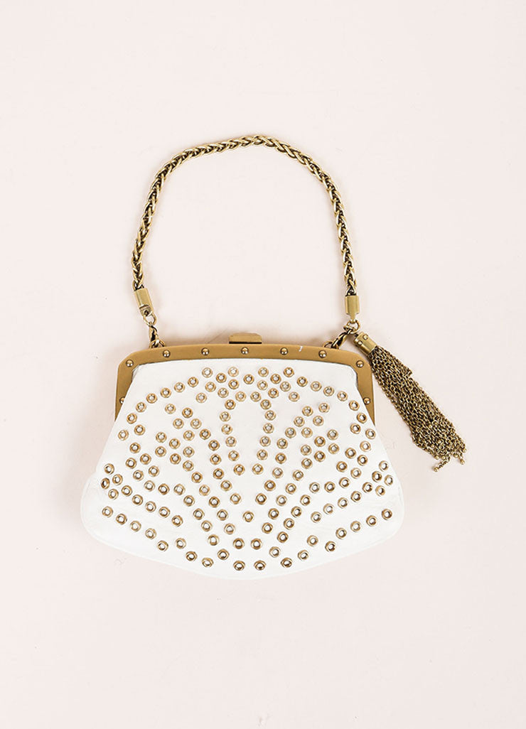 Gucci Cream and Gold Toned Hardware Embellished Wristlet Frontview