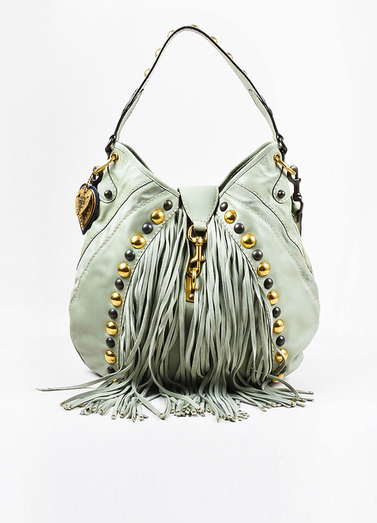 "Gucci Mint Green Leather Gold Tone ""Babouska Large Indy Hobo"" Fringe Bag Frontview"