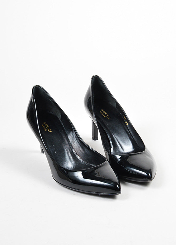 Black Gucci Patent Leather Pointed Toe 65mm Heel Pumps Front