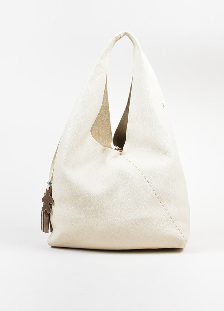 Cream Henry Beguelin Pebbled Leather Coin Purse Slouchy Bag Frontview