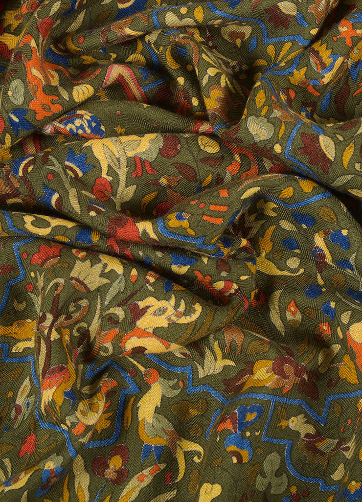 "Hermes Green and Multicolor Silk Twill ""Jardins d'Armenie"" Scarf Detail"