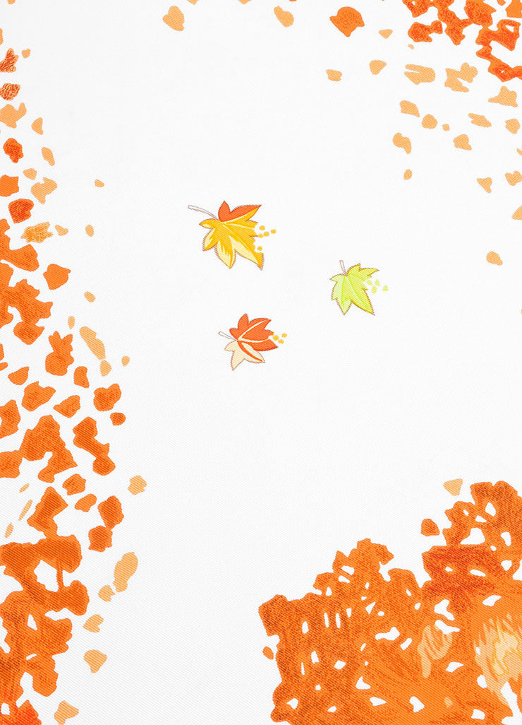 "White, Orange, and Tan Hermes Silk Three Leaves ""Trois Feuilles"" 90cm Square Scarf Detail"