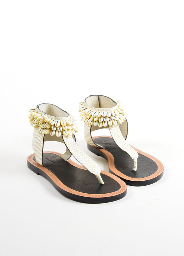 "Isabel Marant Cream Shell Leather Ankle Wrap ""Cauri"" Sandals Frontview"