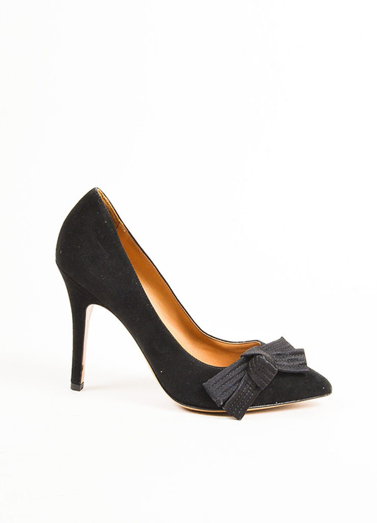 "Isabel Marant Black Suede Pointed Toe Folded Bow ""Poppy"" Pumps Sideview"