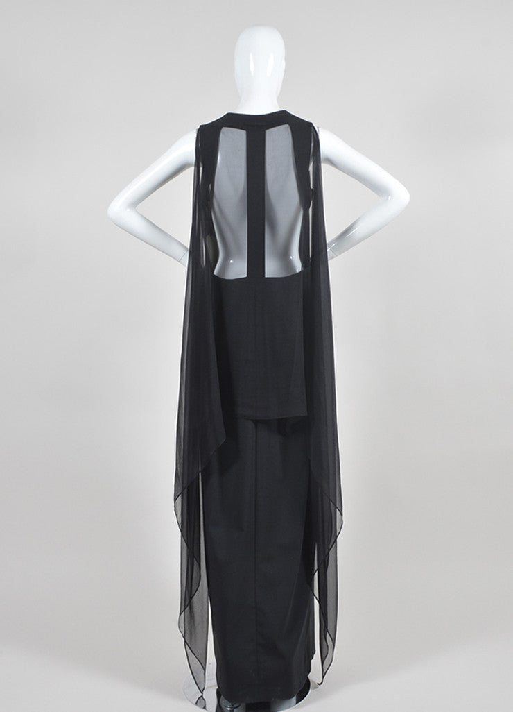 Black Jean Paul Gaultier Wool and Silk Chiffon Shirt Gown Backview
