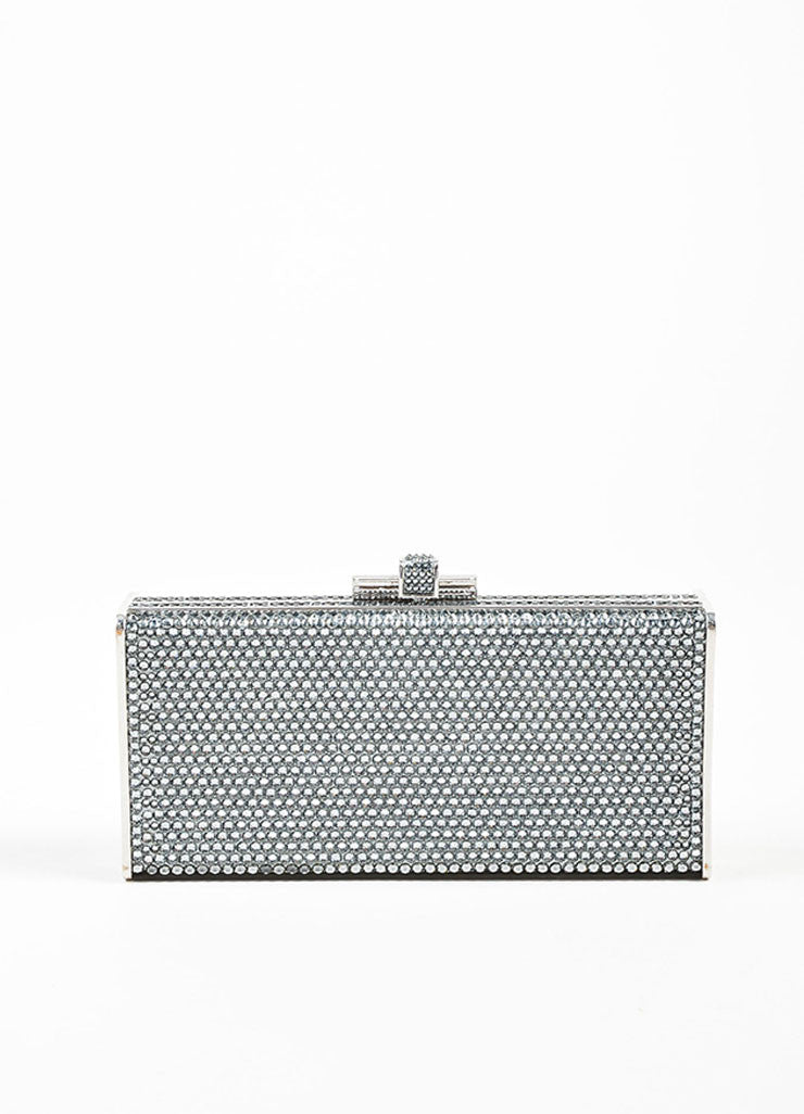 Silver Toned Judith Leiber Rhinestone Covered Rectangular Convertible Clutch Bag Frontview