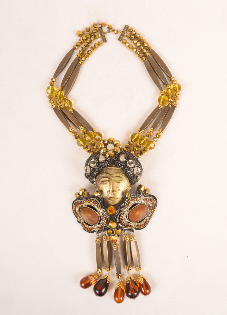 Lawrence Vrba Bronze Toned and Multicolor Beaded Rhinestone Face Necklace and Brooch Pin Fontview