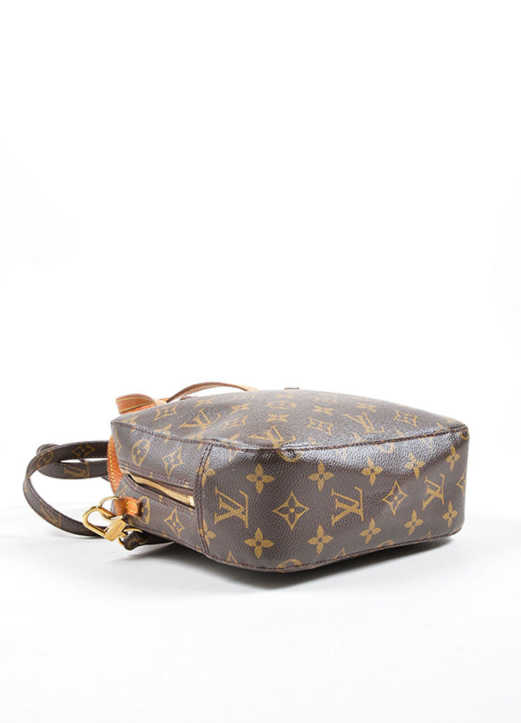 Louis Vuitton Brown Coated Canvas and Leather Trim Satchel Bag Bottom View