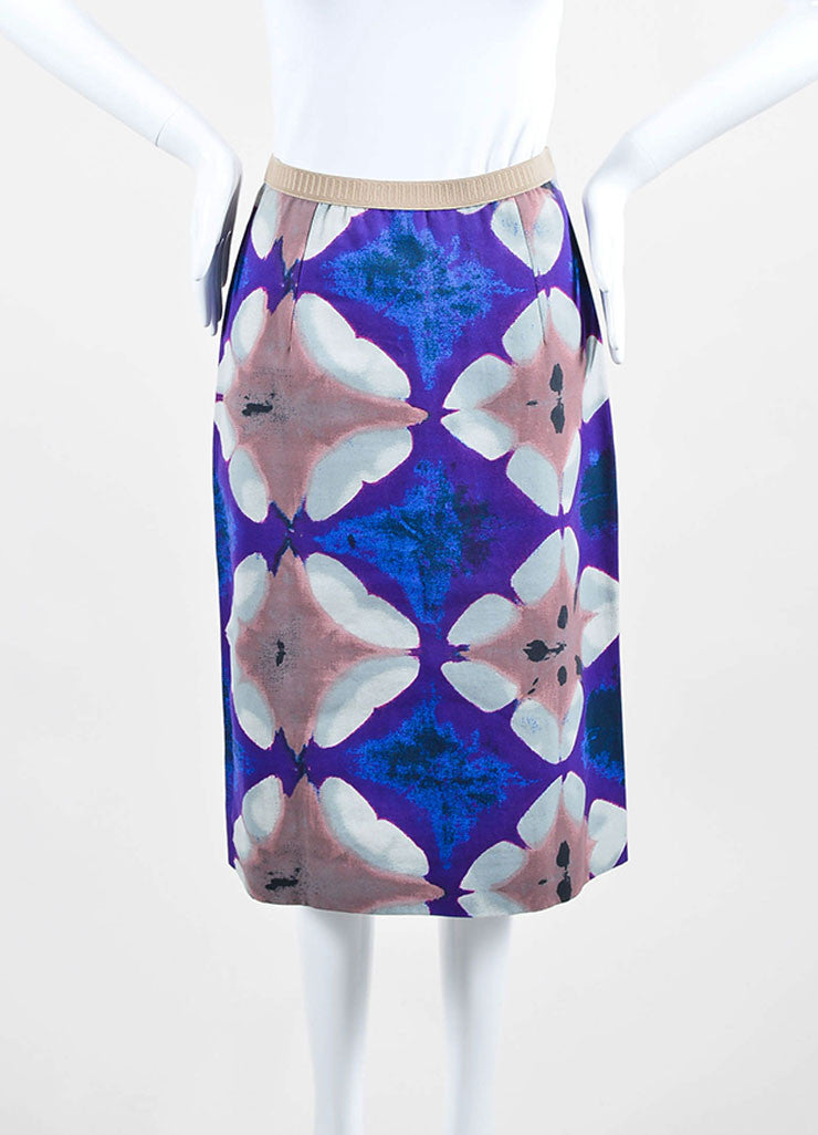 Purple, Blue, and Multicolor Marni Cotton Canvas Print Pencil Skirt Frontview