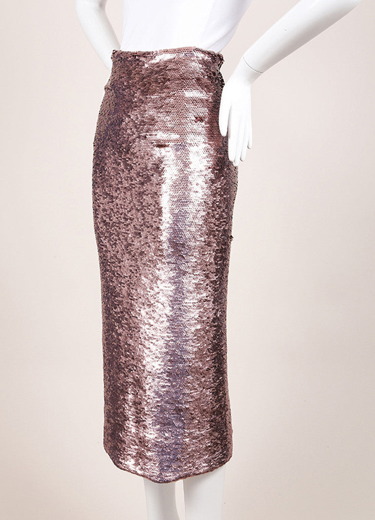Mathieu Mirano New With Tags Light Pink Sequin Embellished Bodycon Maxi Skirt Sideview