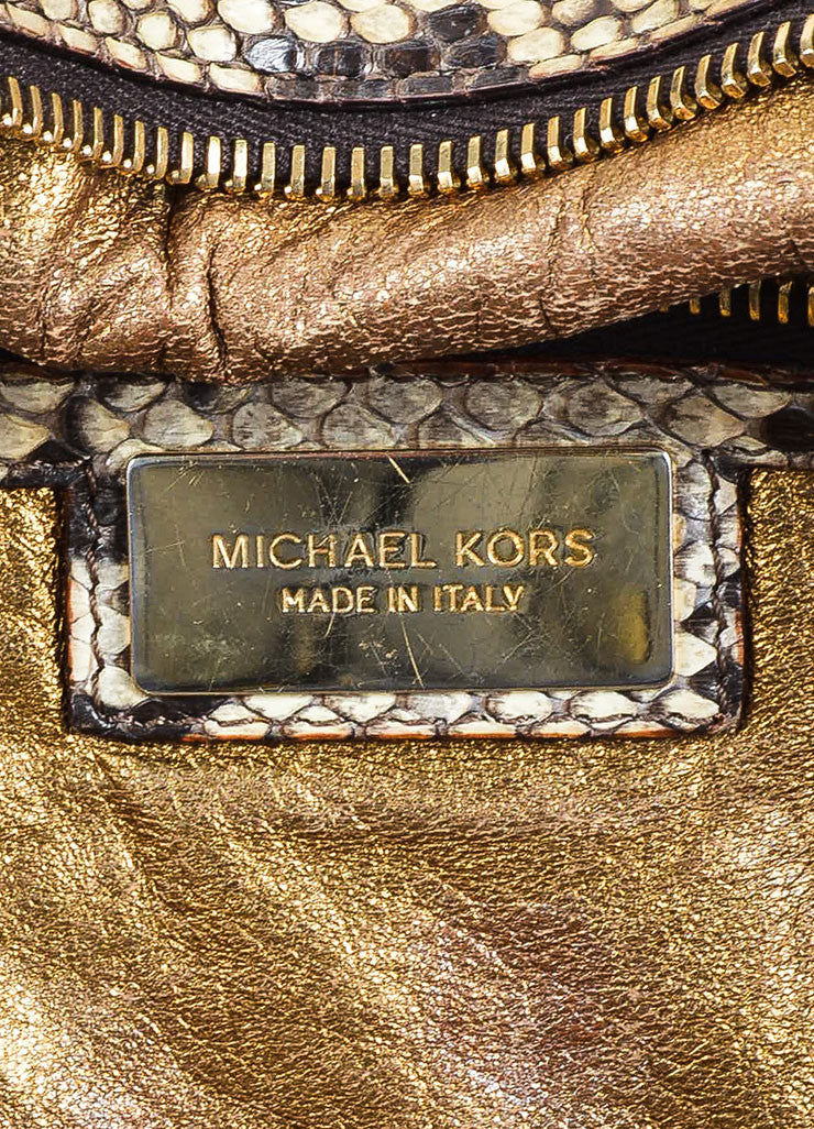 "Tan and Brown Michael Kors Python Leather Braided Handle ""Skorpios"" Tote Bag Brand"