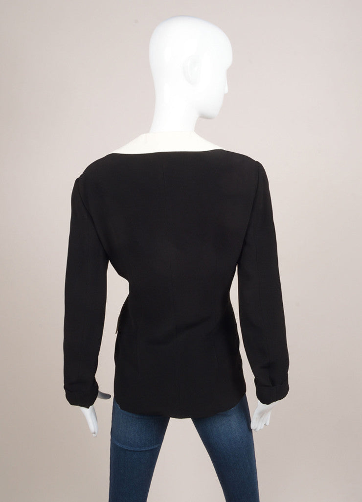 Moschino Cheap and Chic Black and Cream Peter Pan Collar Jacket Backview
