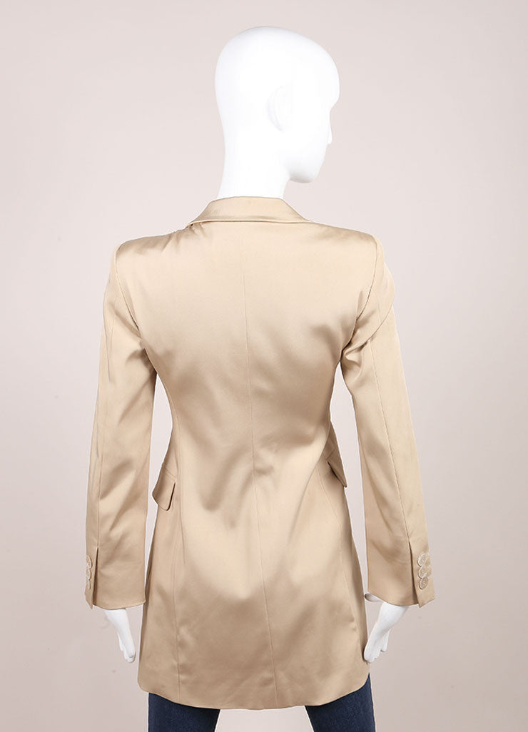 Moschino Tan Long Fitted Silk Blazer Backview
