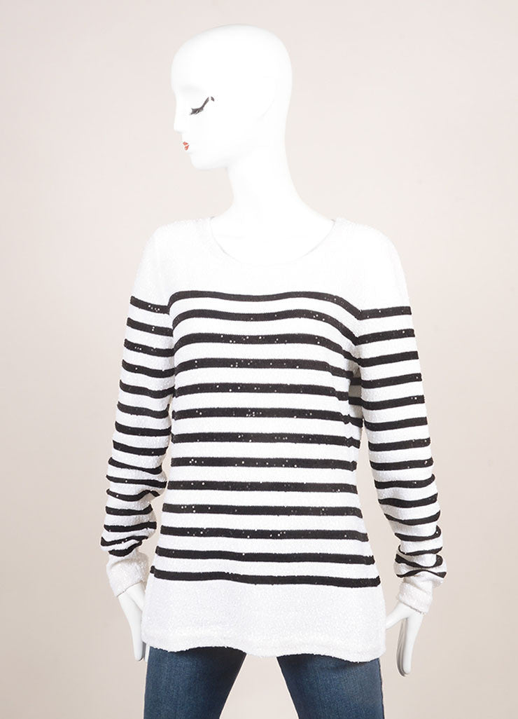 Oscar de la Renta New With Tags White and Navy Striped Sequin Sweater Frontview