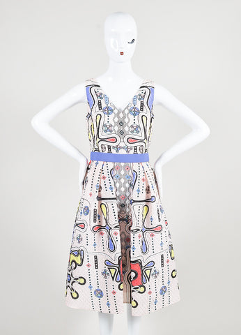 "Peter Pilotto Multicolor 3-D Waffle Textured Printed ""Circle V"" Dress Frontview"