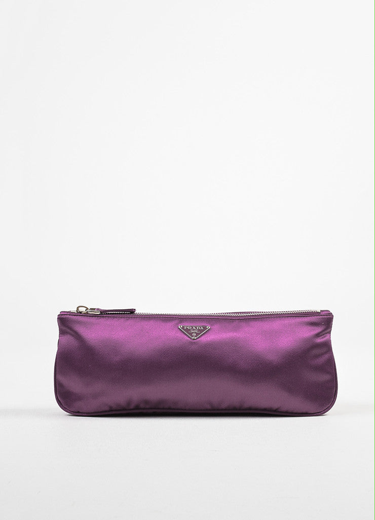 Prada Purple Satin Zipper Clutch Bag Frontview