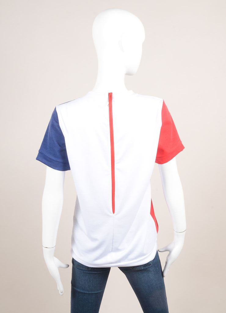 "Pret a Surf New With Tags White, Navy,and Red ""Mondrian"" Print Short Sleeve Cotton Sweatshirt Backview"