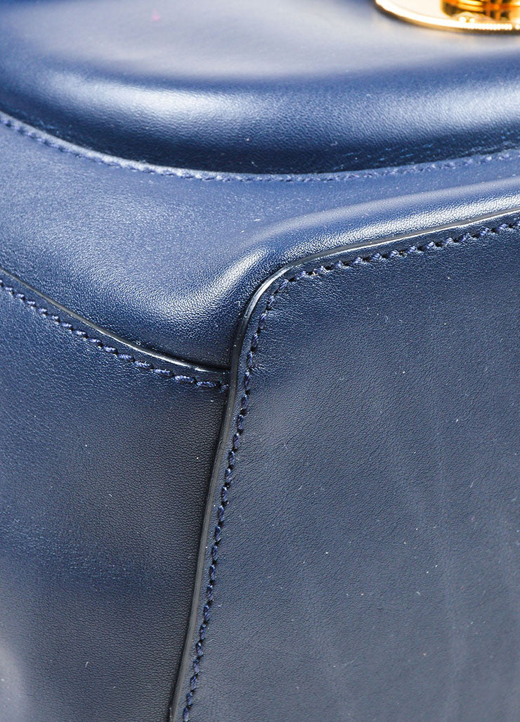 """Cadet Blue"" Ralph Lauren Leather ""Ricky Drawstring"" Bucket Bag Detail"