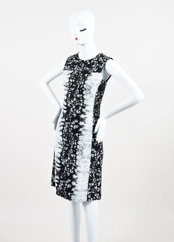 Black and White Reed Krakoff Silk Blend Reptile Print Sleeveless Sheath Dress Sideview