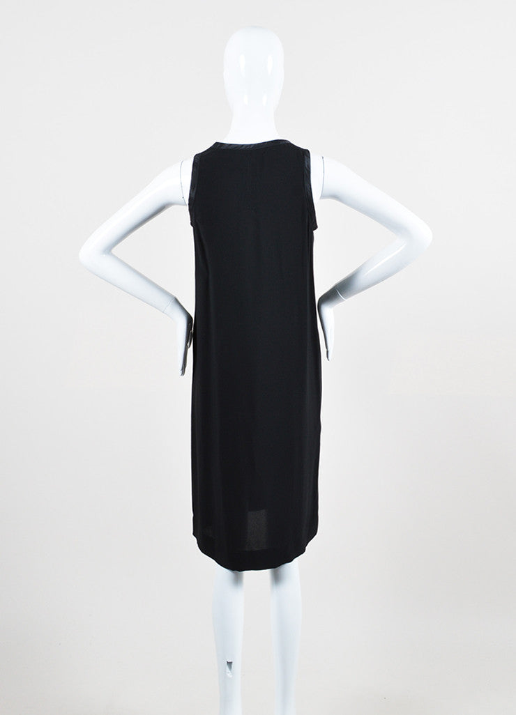 "í_í_Œ¢í_?çí_í_Rick Owens Black Chiffon Satin Trim Zipper Detail ""Vicious"" Sleeveless Dress Backview"