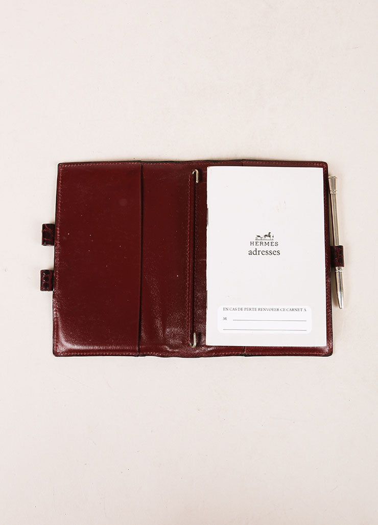 Hermes Brown Crocodile Leather Planner Address Book Cover Interior