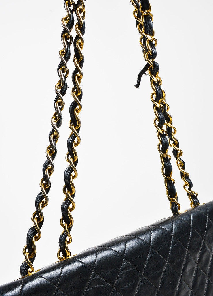 Chanel Black Quilted Lambskin Leather Gold Toned Chain Flap Shoulder Bag Detail 6