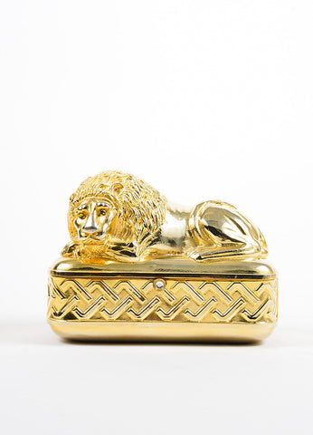 Gold Toned Judith Leiber Lion Minaudiere Clutch Bag Frontview