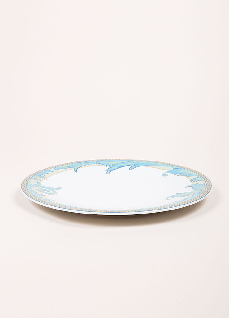 "Versace Rosenthal White and Blue ""Arabesque"" 11 inch Dinner Plate Sideview"