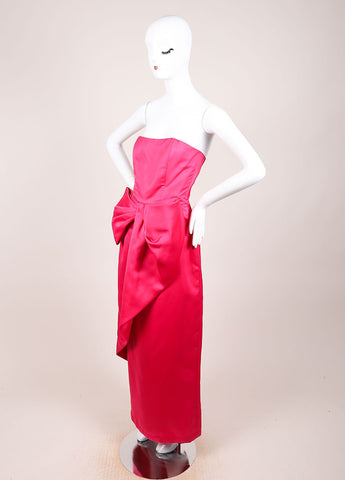 Victor Costa Pink Tulip Silhouette Oversized Bow Long Strapless Dress Sideview