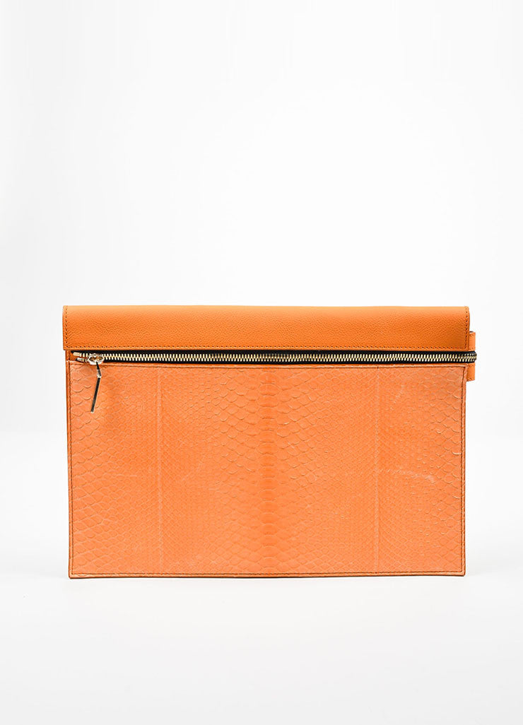 Orange Victoria Beckham Python and Buffalo Zip Oversized Pouch Clutch Bag Frontview