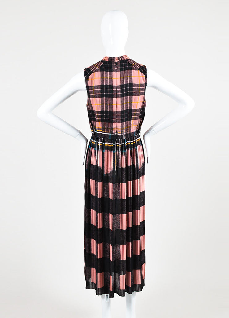 Pink and Black VICTORIA Victoria Beckham Plaid Dress Back