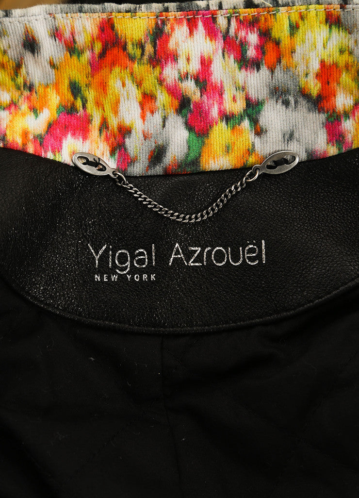 Yigal Azrouel Black and Multicolor Floral Print Quilted Leather Moto Jacket Brand