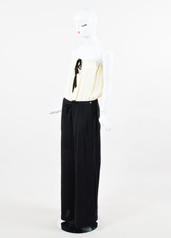 Chanel Cream Silk Black Linen Strapless Wide Leg Jumpsuit Side