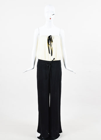 Chanel Cream Silk Black Linen Strapless Wide Leg Jumpsuit Front